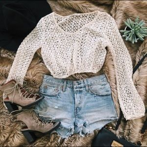 Arden B Cream Crochet Boho Longsleeve Crop Top S
